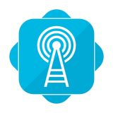 Blue square icon transmitter Stock Images