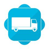 Blue square icon truck. Vector icon Royalty Free Stock Photography