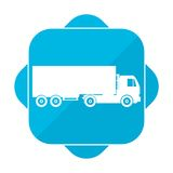Blue square icon truck. Vector icon Stock Image