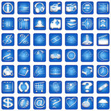 Blue Square Icons Set Part 2 Stock Photo