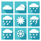Blue square icons set of weather forecast. Vector Collection of Weather Icons in blue flat design style Royalty Free Stock Image