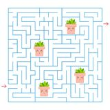 A blue square labyrinth. Collect all the flower pots and find a way out of the maze. An interesting game for children. Simple flat. Vector illustration Royalty Free Stock Image