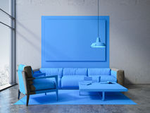 Blue square in a modern interior with sofa. 3d rendering Royalty Free Stock Images
