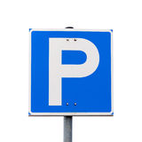 Blue square parking road sign isolated on white Royalty Free Stock Image