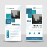 Blue square roll up business brochure flyer banner design , cover presentation abstract geometric background, modern publication Royalty Free Stock Image