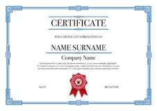 Blue Square shape with 3 stripes element Certificate border for Excellence Performance stock photos