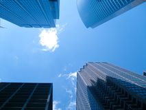 Blue square. Sky view in the middle of four waybuilding Royalty Free Stock Image