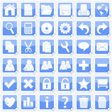 Blue Square Stickers Icons [1]. Set of 36 website and application stickers icons isolated on white background. Blue Square Stickers Icons – Part 1: there are Stock Image