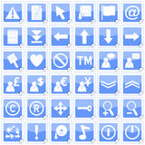 Blue Square Stickers Icons [2]. Set of 36 website and application stickers icons isolated on white background. Blue Square Stickers Icons – Part 2: there are Royalty Free Stock Photos