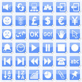 Blue Square Stickers Icons [3]. Set of 36 website and application stickers icons isolated on white background. Blue Square Stickers Icons – Part 3: there are Royalty Free Stock Photos