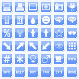 Blue Square Stickers Icons [4]. Set of 36 website and application stickers icons isolated on white background. Blue Square Stickers Icons – Part 4: there are Stock Image