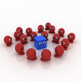 Blue square surrounded by red marbles stock illustration