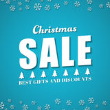 Blue square template banner for Christmas sales. Royalty Free Stock Photo
