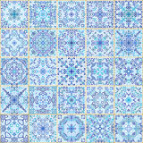 Blue Square Tiles Seamless Pattern. Rich tile ornament in oriental style. Square tile patchwork design. Intricate tile pattern. Boho chic tile pattern for Stock Photos