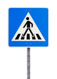 Blue square traffic sign for pedestrian crossing Royalty Free Stock Photography