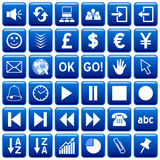 Blue Square Web Buttons [3]. 36 website and application square buttons isolated on white background. Each button is 750x750 pixels. Blue Square Web Buttons – Royalty Free Stock Image