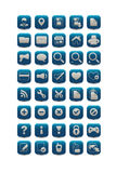 Blue square web icons Stock Photography