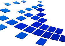 Blue squares. Abstract bright blue squares on white Stock Images