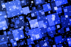 Blue squares. Abstract background with bokeh effect Stock Photography