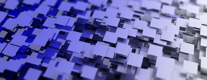 Blue squares abstract background. 3d illustration Stock Photos