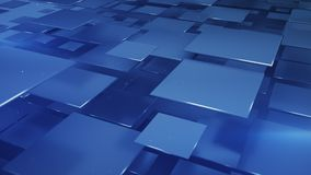 Blue squares abstract 3D illustration. Blue squares abstract geometric background. 3D illustration vector illustration