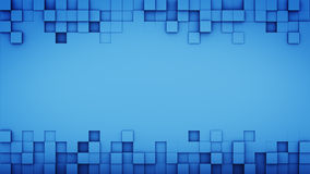 Blue squares and free space 3D render Royalty Free Stock Image