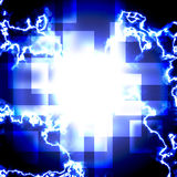 Blue squares with lightning. Royalty Free Stock Image