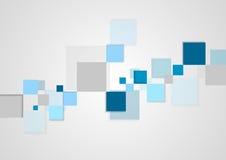 Blue squares minimal tech brochure design Stock Images