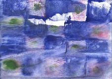 Blue squares nebulous watercolor paper. Hand-drawn abstract watercolor texture. Used contrasting and transient colors Royalty Free Stock Photo