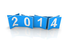 Blue squares with new 2014 year numbers. On white background with soft shadows. 3d design element vector illustration
