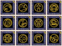 Blue squares with signs of the zodiac. Blue golden squares with golden stars and golden signs of the zodiac. Available as EPS-File Royalty Free Stock Images