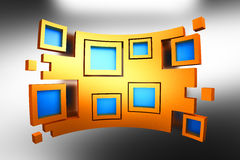 Blue squares in yellow frames background Royalty Free Stock Photography