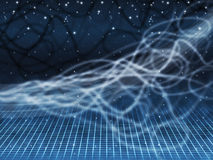 Blue Squiggles Background Shows Starry Sky And Grid Royalty Free Stock Image