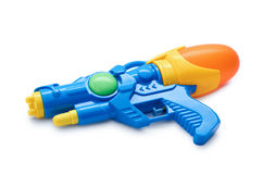 Blue squirt gun. Isolated on white background Stock Photos