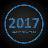 Blue Ssequins New 2017 Year. Star. Circle. Happy New Year background for your card. Sparkle glitter background. Glittering Blue sequins frame. Star. Eps10 Stock Photography