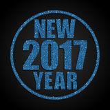 Blue Ssequins New 2017 Year. Star. Circle. Happy New Year background for your card. Sparkle glitter background. Glittering Blue sequins frame. Star. Eps10 Stock Image