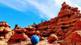 Blue Stability Ball at Rocky Mountains royalty free stock photos
