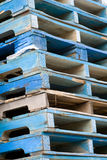 Blue Stacked skids Royalty Free Stock Images