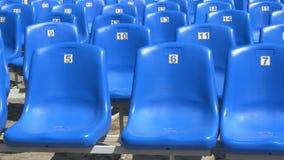 Blue stadium chairs stock video footage