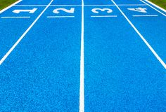 Blue Stadium Floors with blue numbers 1-8 For fitness stock photography