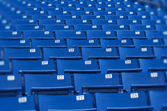 Blue stadium seats (selective focus) Stock Photo