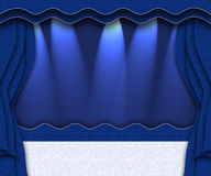 Blue stage. Curtained theater background Stock Photos