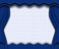 Blue stage. Blue & white curtained theater background Stock Images
