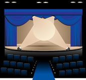 Blue Stage. Illustration of Blue Stage with Lighting and Seating royalty free illustration