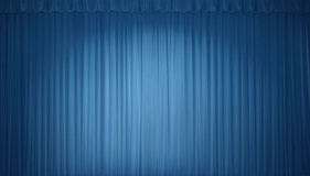 Blue stage curtain. With lights royalty free stock images