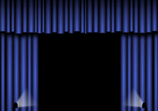 Blue Stage curtains. Blue open curtains with spotlights Royalty Free Stock Photos