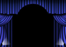 Blue Stage Curtains. Blue stage drapes with with central arch Stock Photo