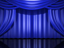 Blue stage drapes Stock Images