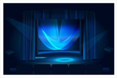 Blue stage drops and blue light. royalty free stock image