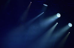 Blue stage lights, light show Royalty Free Stock Images